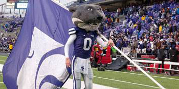 Willie with K-State flag at football game